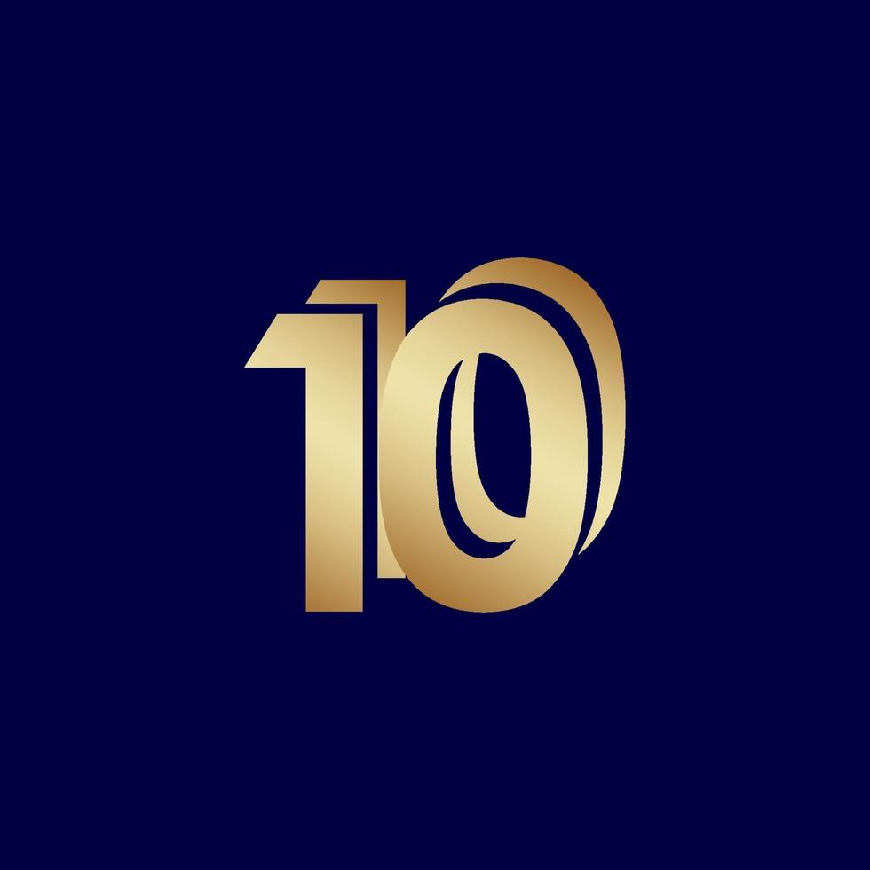 Ilustração de design de modelo de vetor ouro azul celebração de aniversário de 10 anos