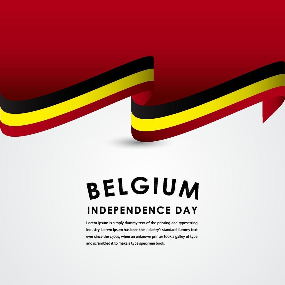 feliz comemoração do dia da independência da bélgica ilustração vetorial design de modelo vetor