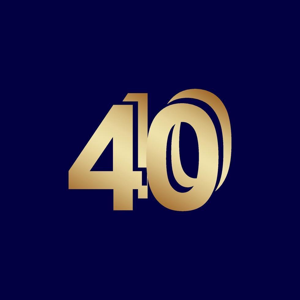 40 anos de comemoração de aniversário de ouro azul ilustração de design de modelo de vetor