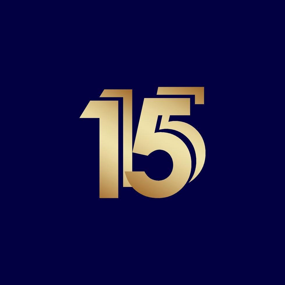 15 anos de comemoração de aniversário de ouro azul ilustração de design de modelo de vetor