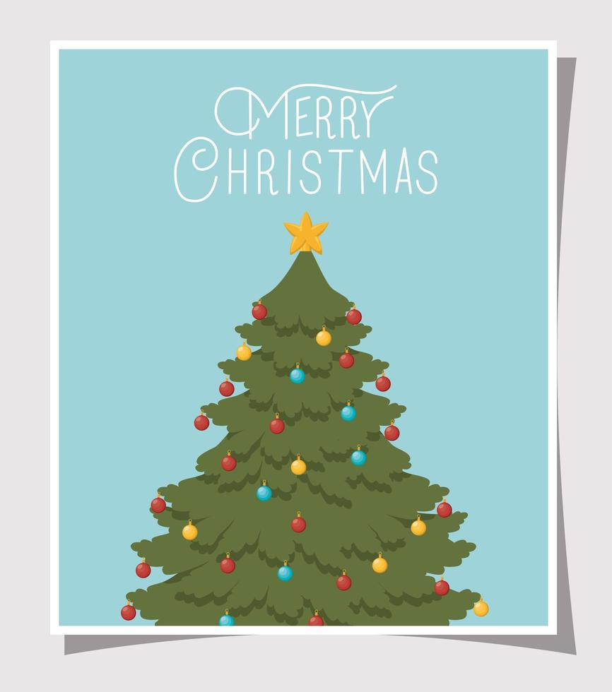cartão de feliz natal com pinheiro vetor