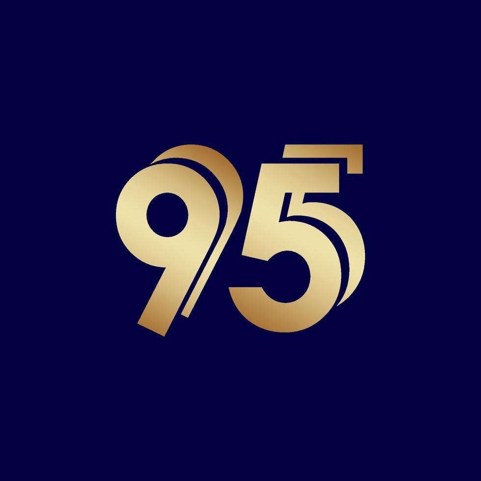 Celebração de aniversário de 95 anos ilustração de design de modelo vetorial ouro azul vetor