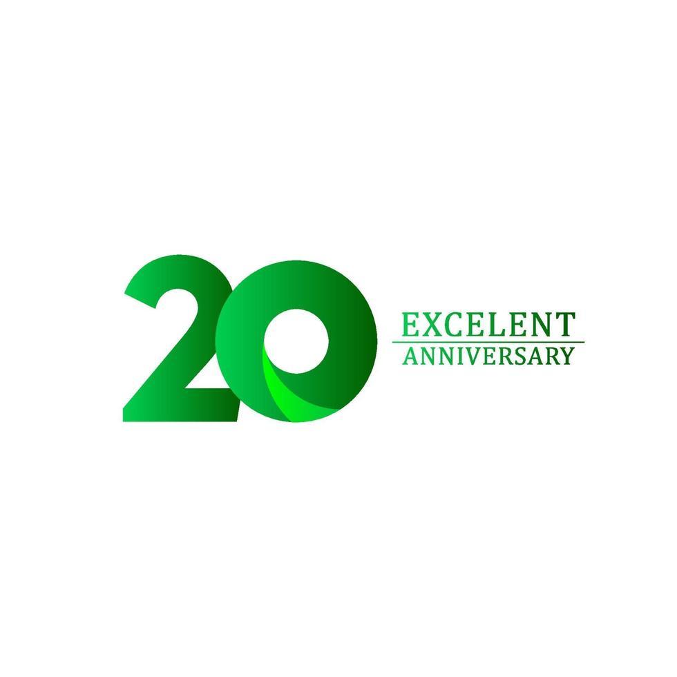20 anos excelente celebração de aniversário ilustração de design de modelo vetorial logotipo verde vetor
