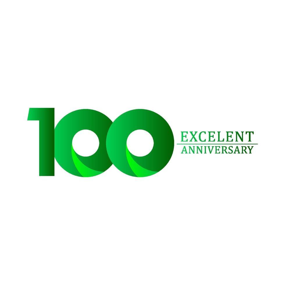 100 anos excelente celebração de aniversário logotipo verde ilustração vetorial modelo design vetor