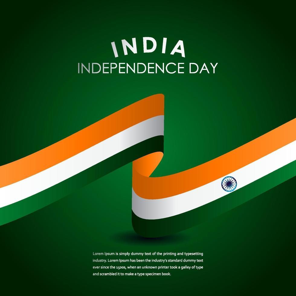 ilustração de design de modelo vetorial feliz celebração do dia da independência da Índia vetor