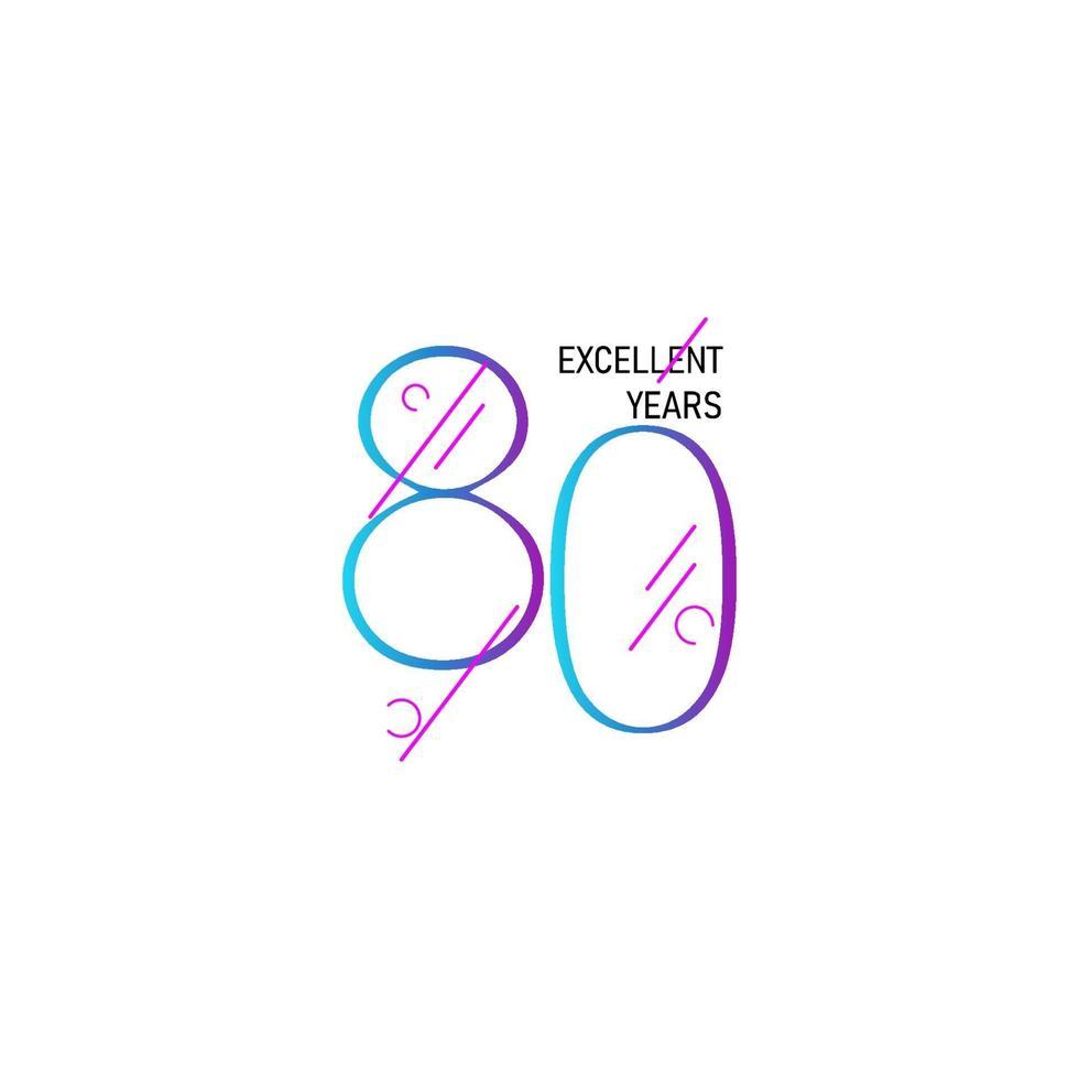 80 anos de celebração de aniversário elegante número ilustração vetorial de modelo vetor