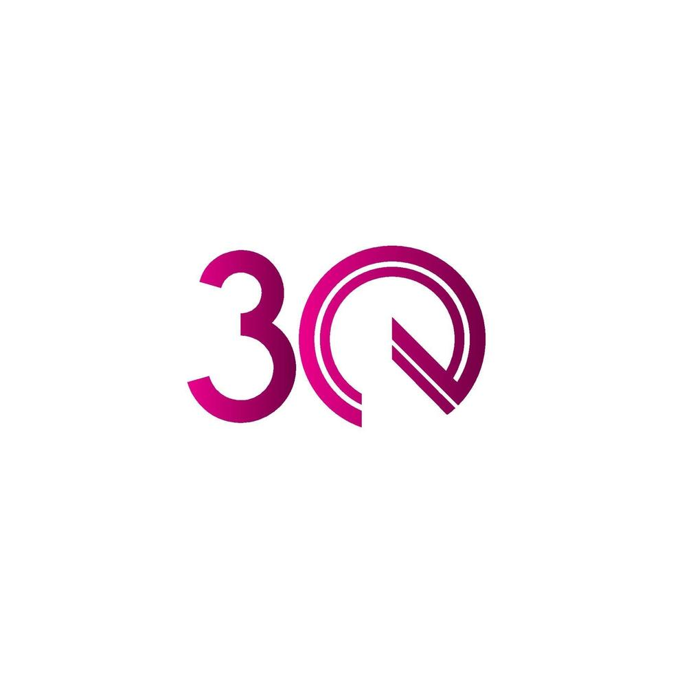 Celebração de aniversário de 30 anos ilustração de design de modelo vetorial linha roxa vetor