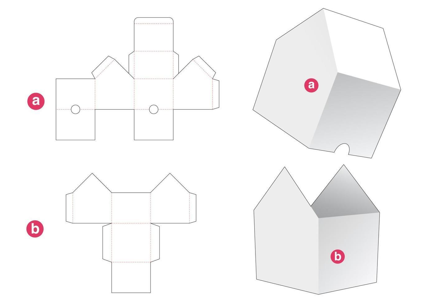 tigela em forma de casa com molde recortado de tampa vetor