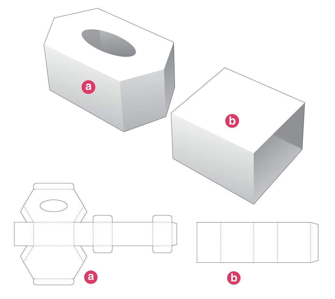 caixa de tecido em formato hexagonal e molde de cobertura cortada vetor