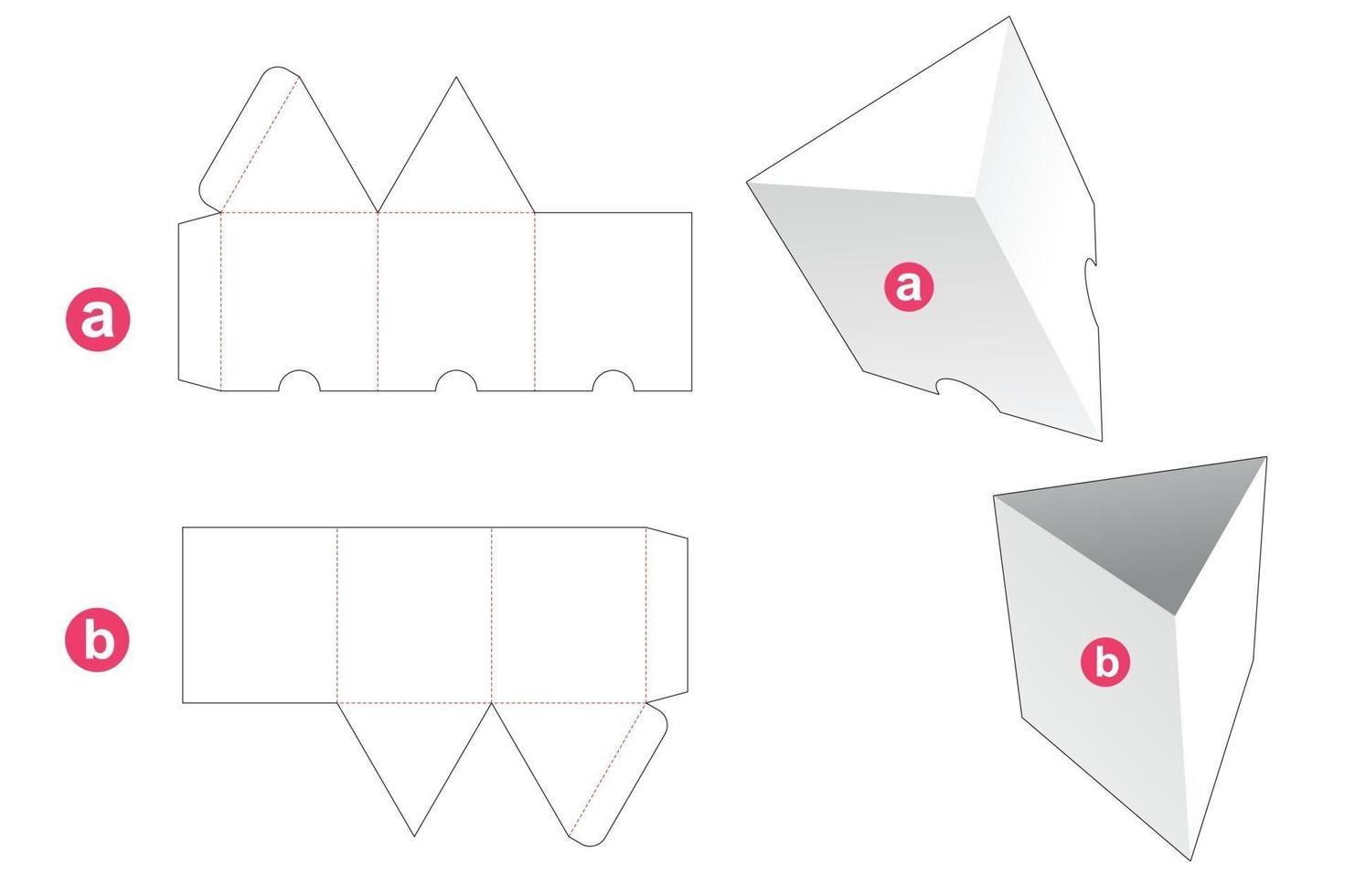 caixa de formato triangular com molde de tampa cortada vetor