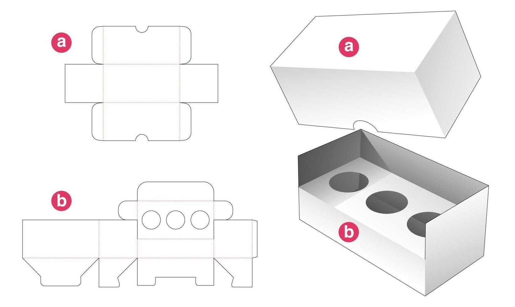 insira a caixa de cosméticos e o modelo de recorte da tampa vetor