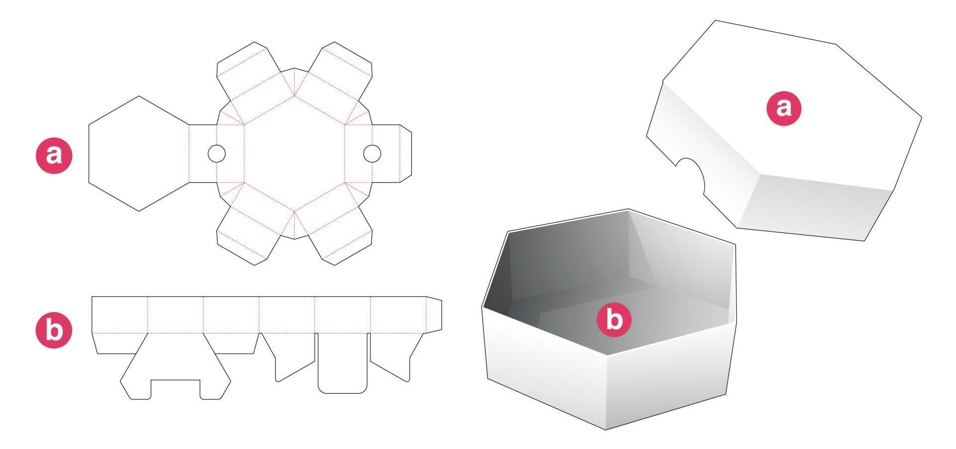 caixa de formato hexagonal curta e molde de tampa cortada vetor