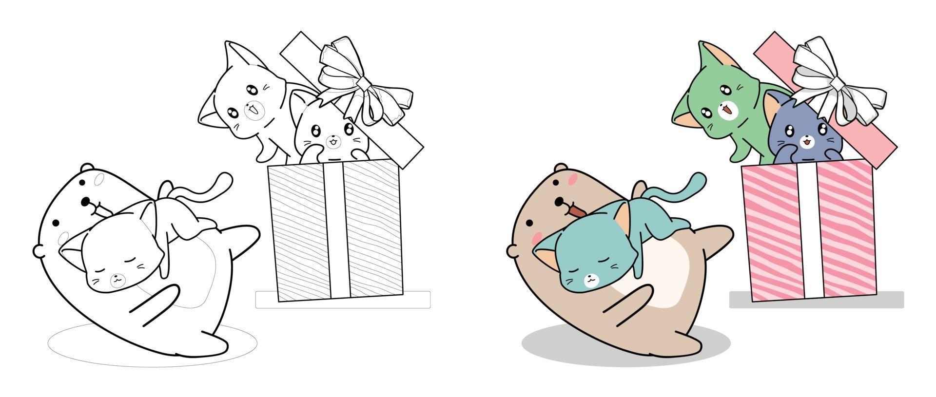 urso kawaii e gatos na caixa de presente, desenho para colorir para crianças vetor