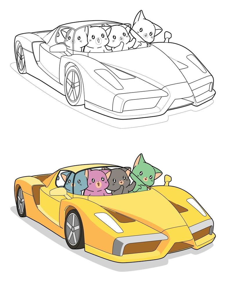 gatos kawaii em supercarro, desenho para colorir para crianças vetor