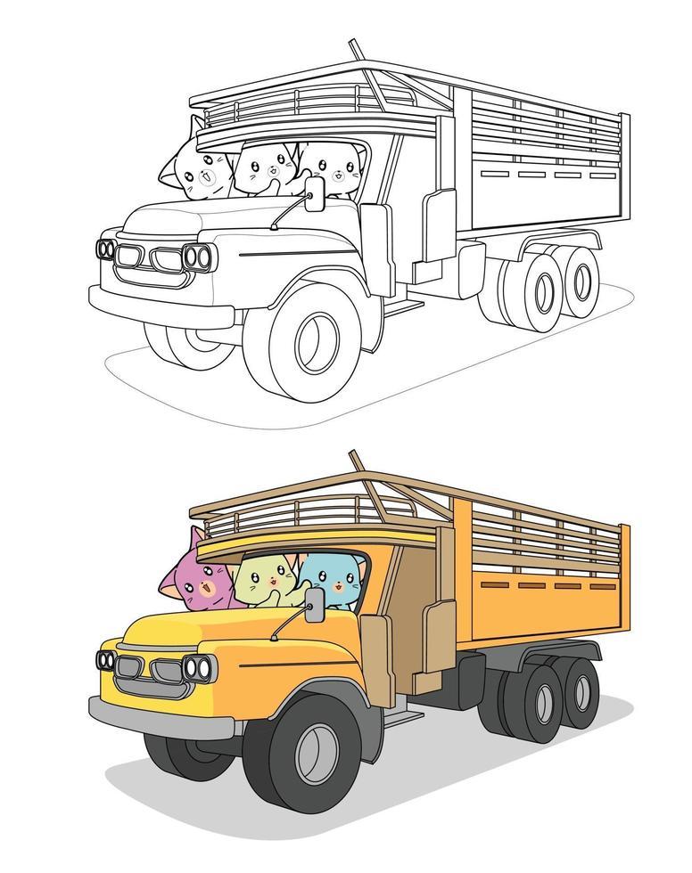 gatos kawaii no caminhão, desenho para colorir para crianças vetor