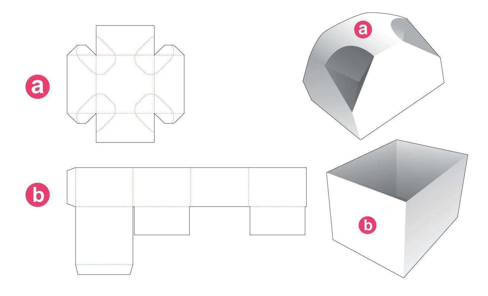 caixa de presente e molde recortado de tampa com 4 cantos chanfrados vetor