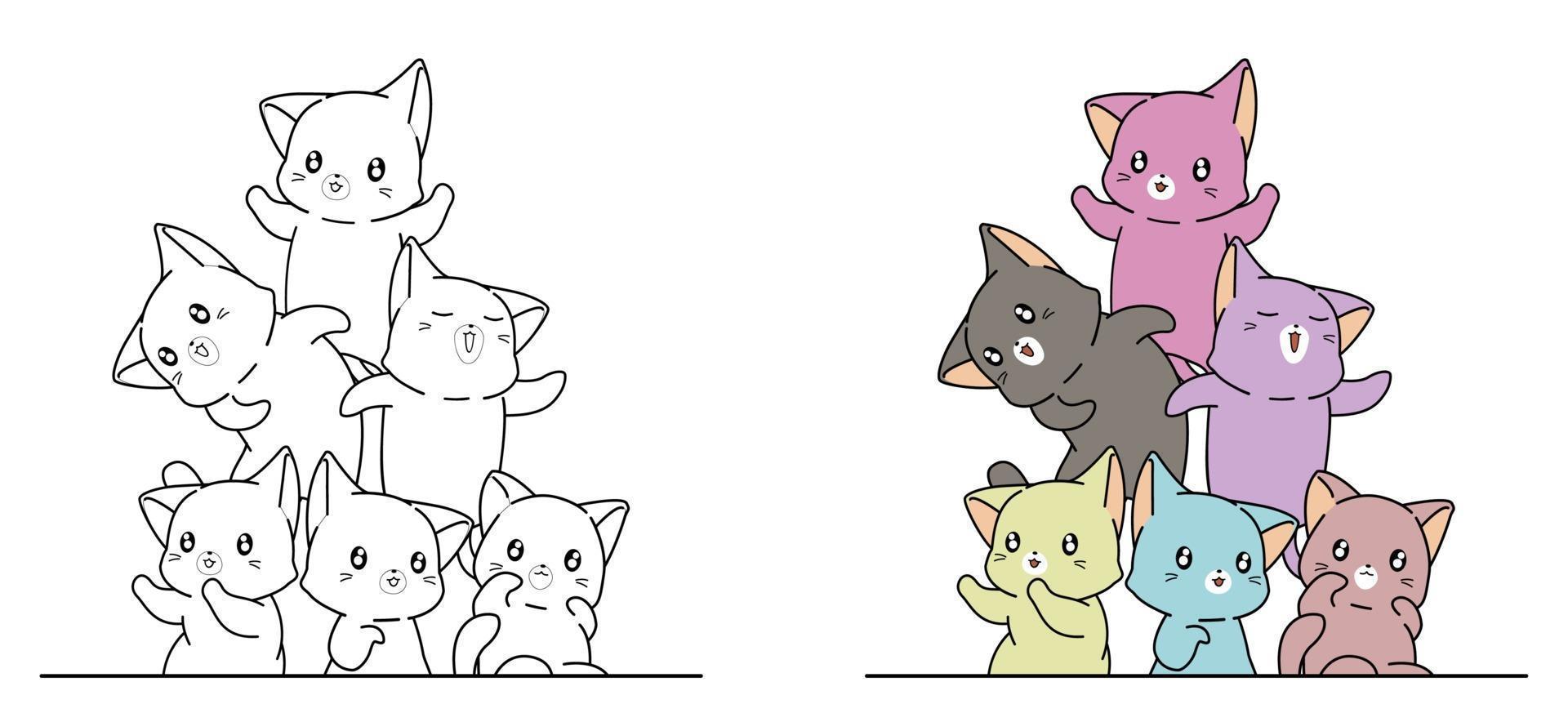 gatos coloridos, desenho para colorir para crianças vetor