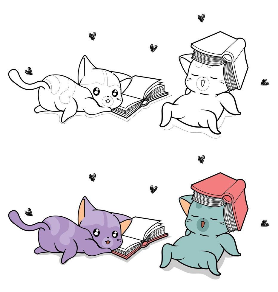 personagens fofinhos de gatos com livros de texto, páginas de desenhos animados para colorir para crianças vetor