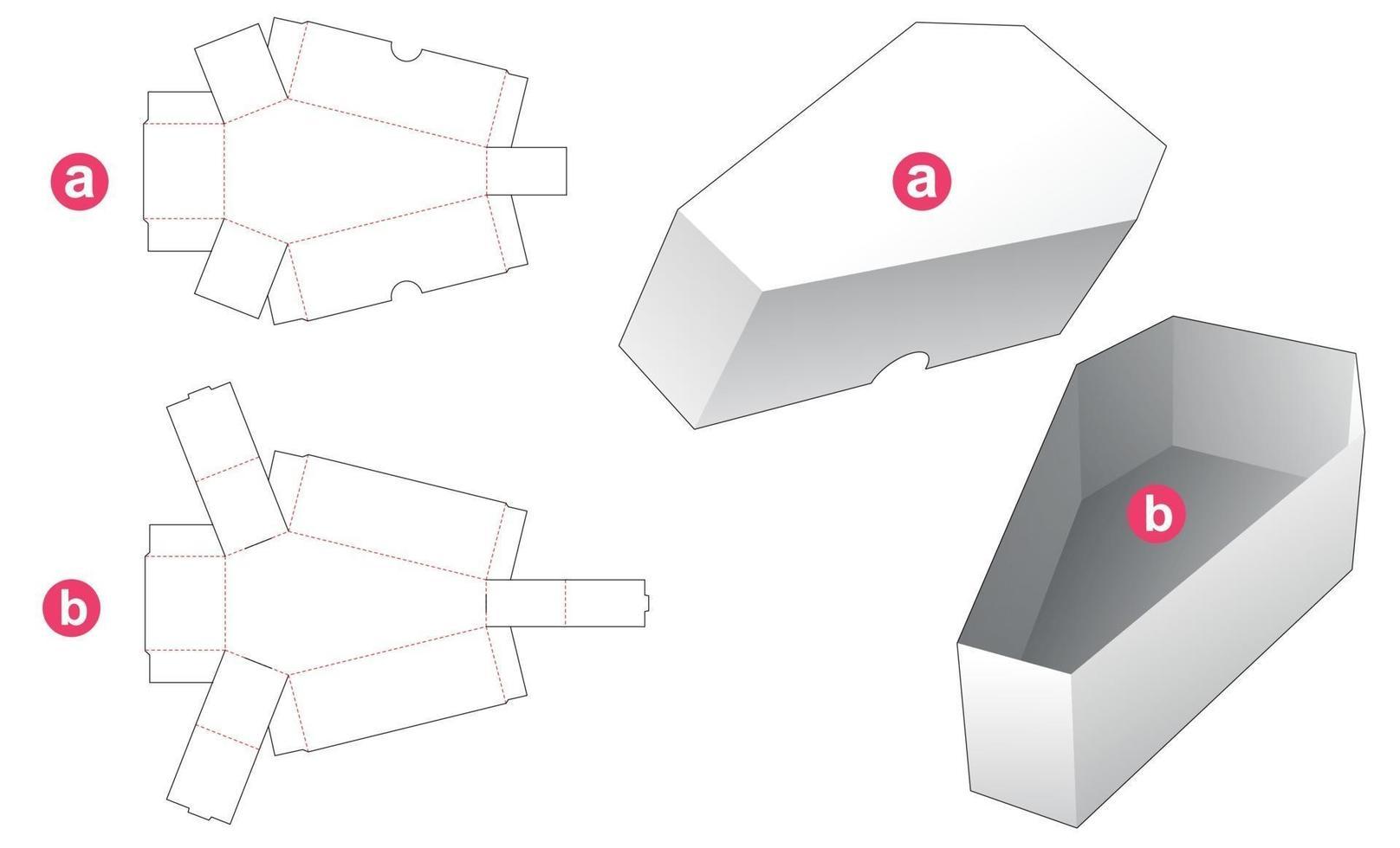 tigela em forma de caixão e molde de tampa cortada vetor