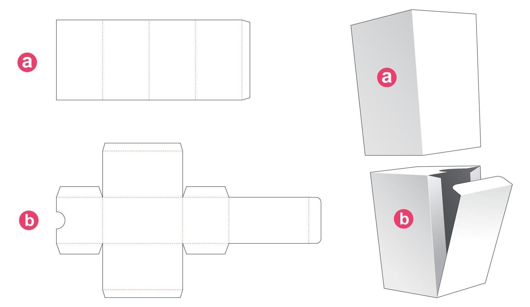 caixa simples de papelão e molde de tampa recortada vetor