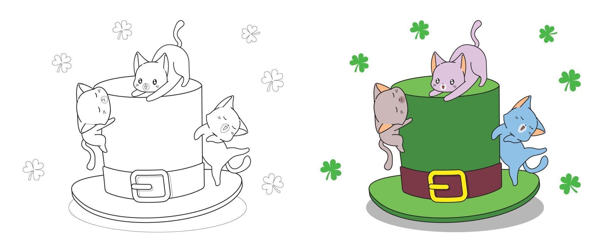 gatos com chapéu no dia de São Patrício, página para colorir para crianças vetor