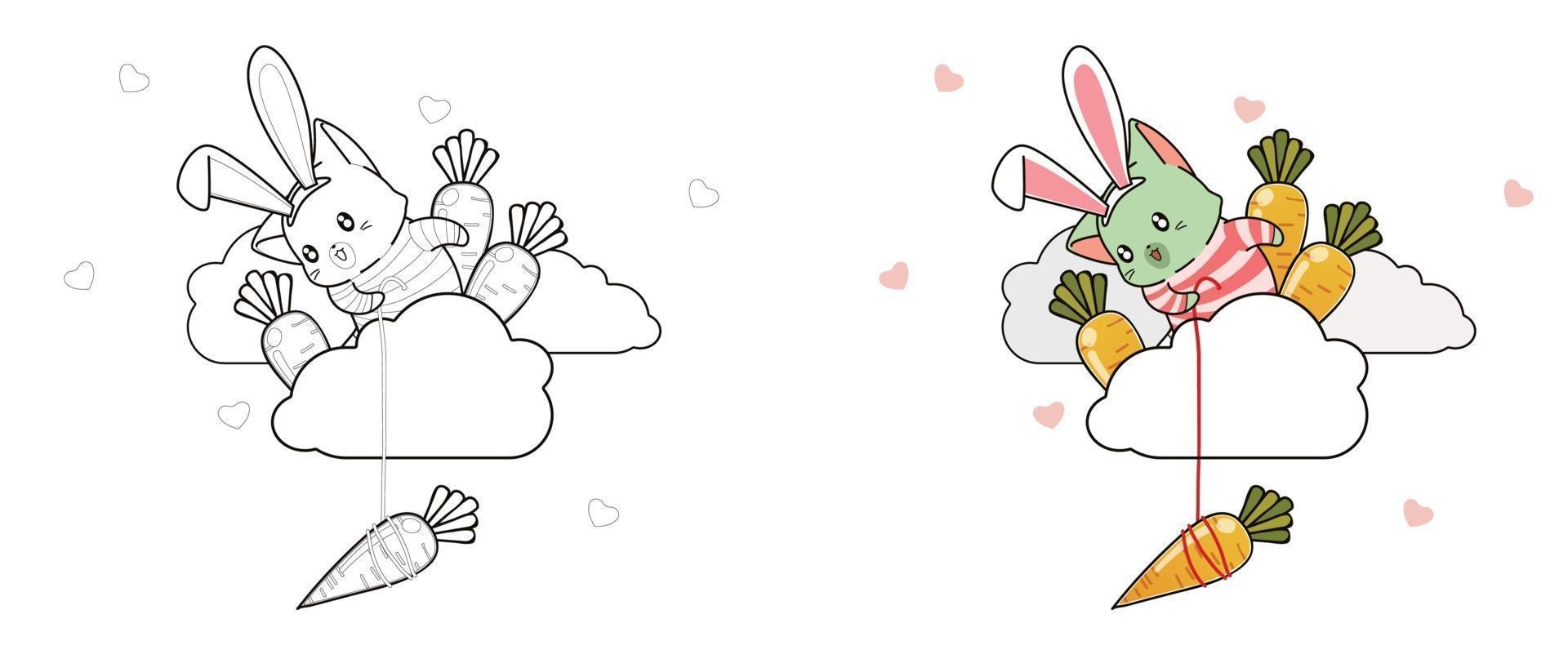 gato e cenouras na nuvem para colorir para crianças vetor