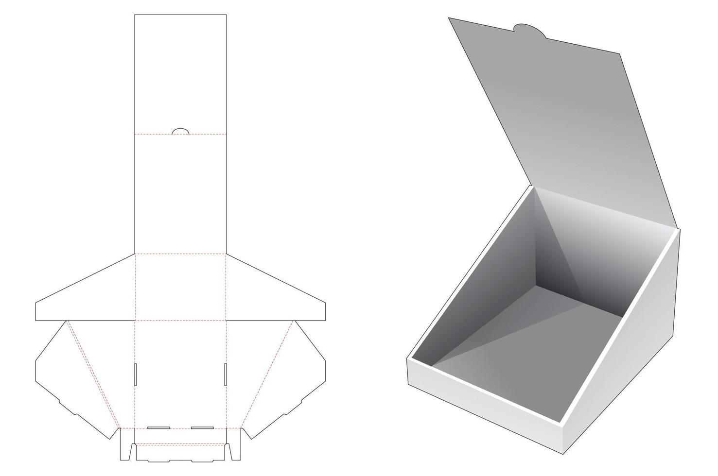 molde de corte e vinco dobrável flip slope box vetor