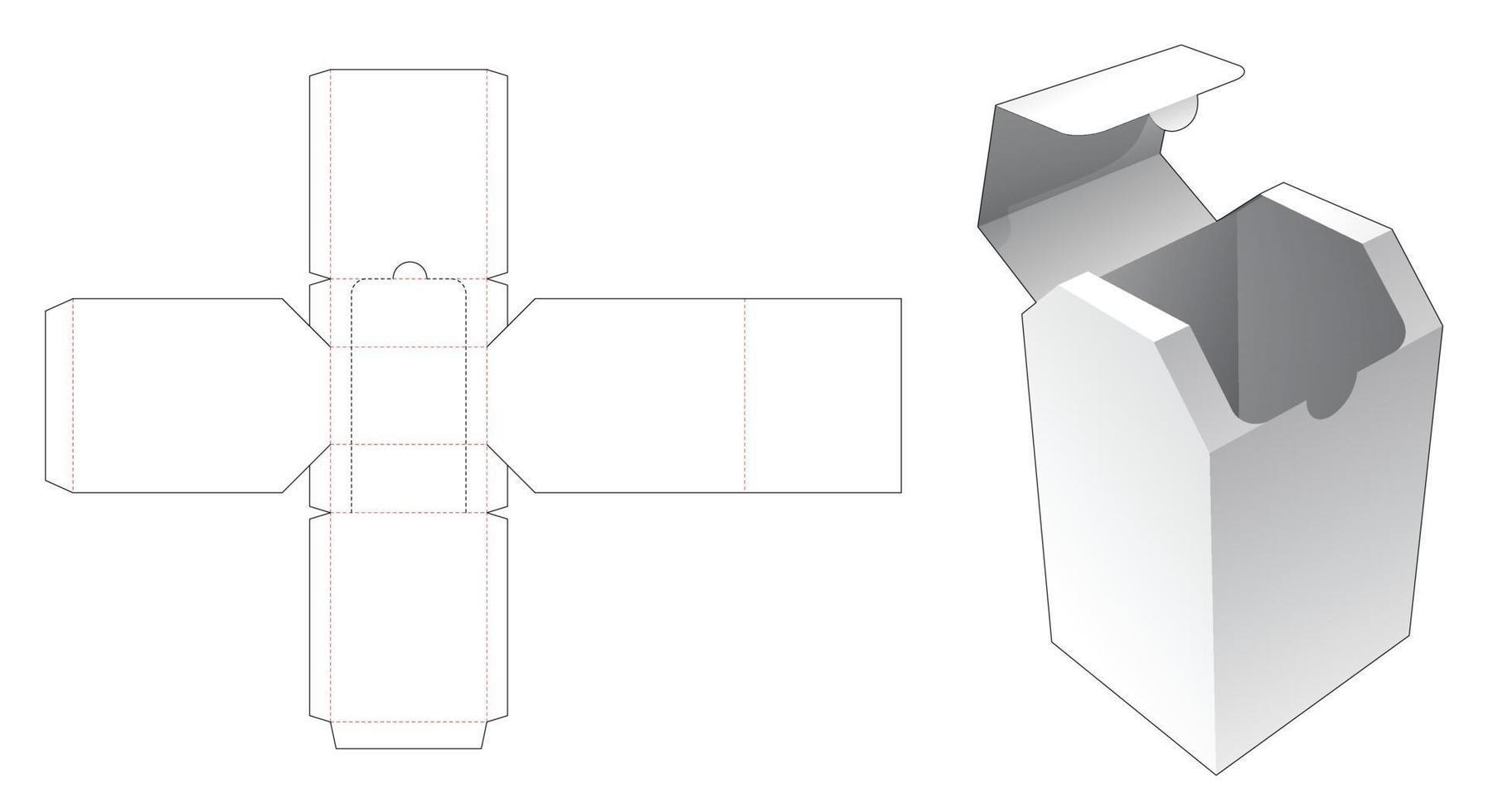 caixa chanfrada com molde de corte e vinco de abertura vetor