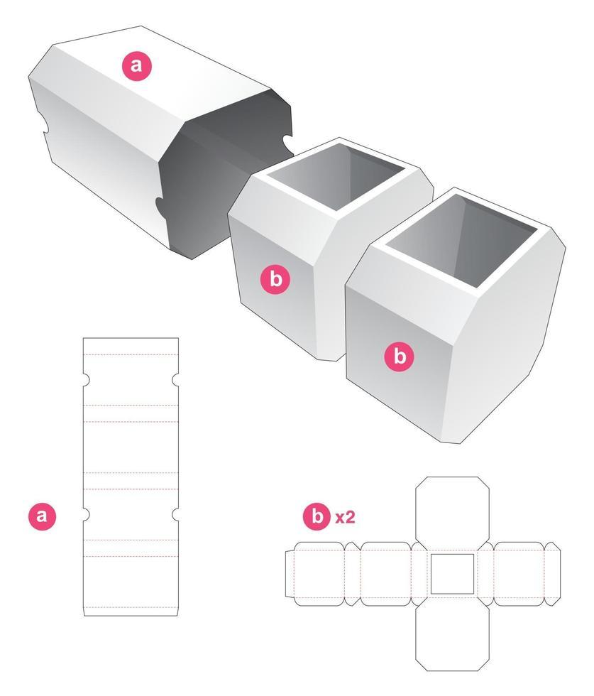 caixa octogonal dupla com molde recortado de tampa vetor