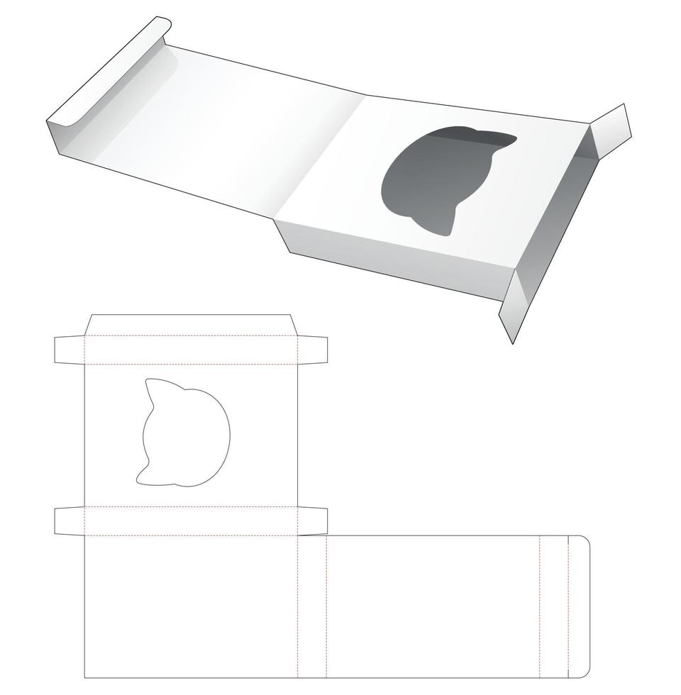 virar caixa de lata com janela em formato de gato e molde recortado vetor