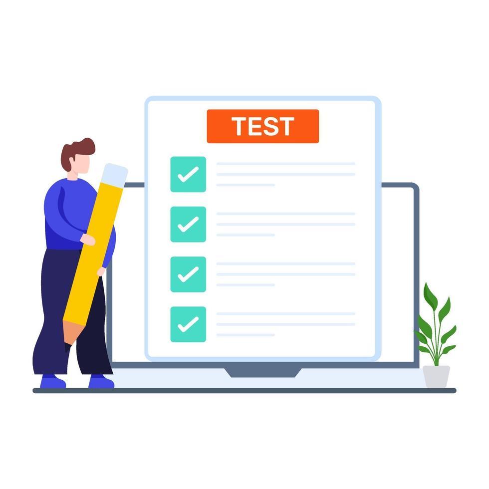 conceito de teste de quiz online vetor