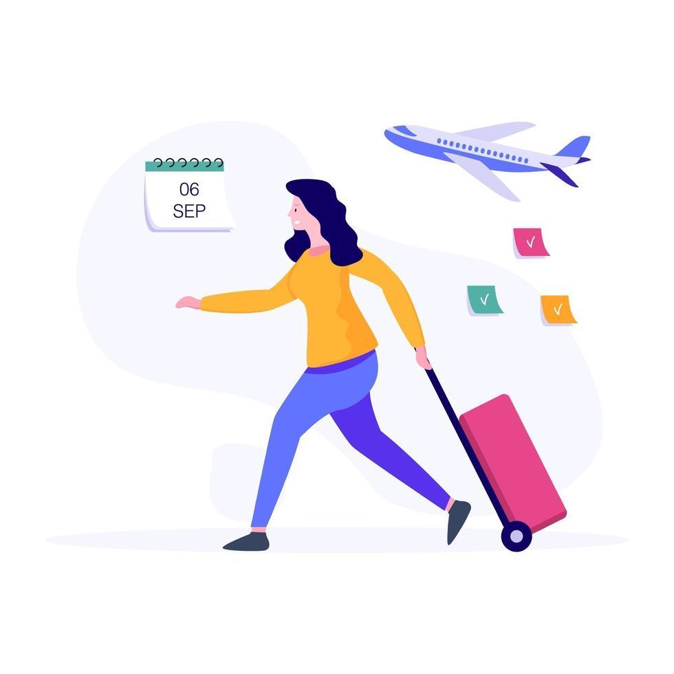 conceito de passageira de avião feminino vetor