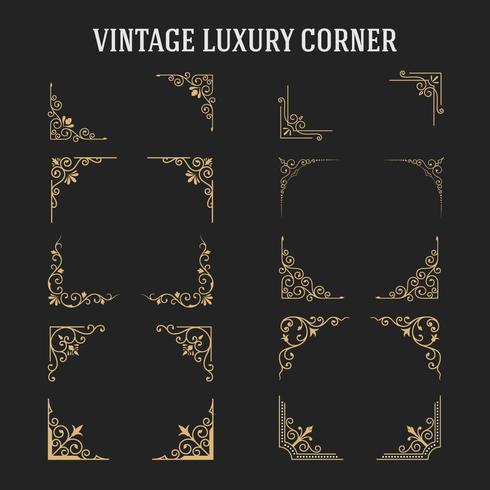 Conjunto de design de canto de luxo Vintage vetor