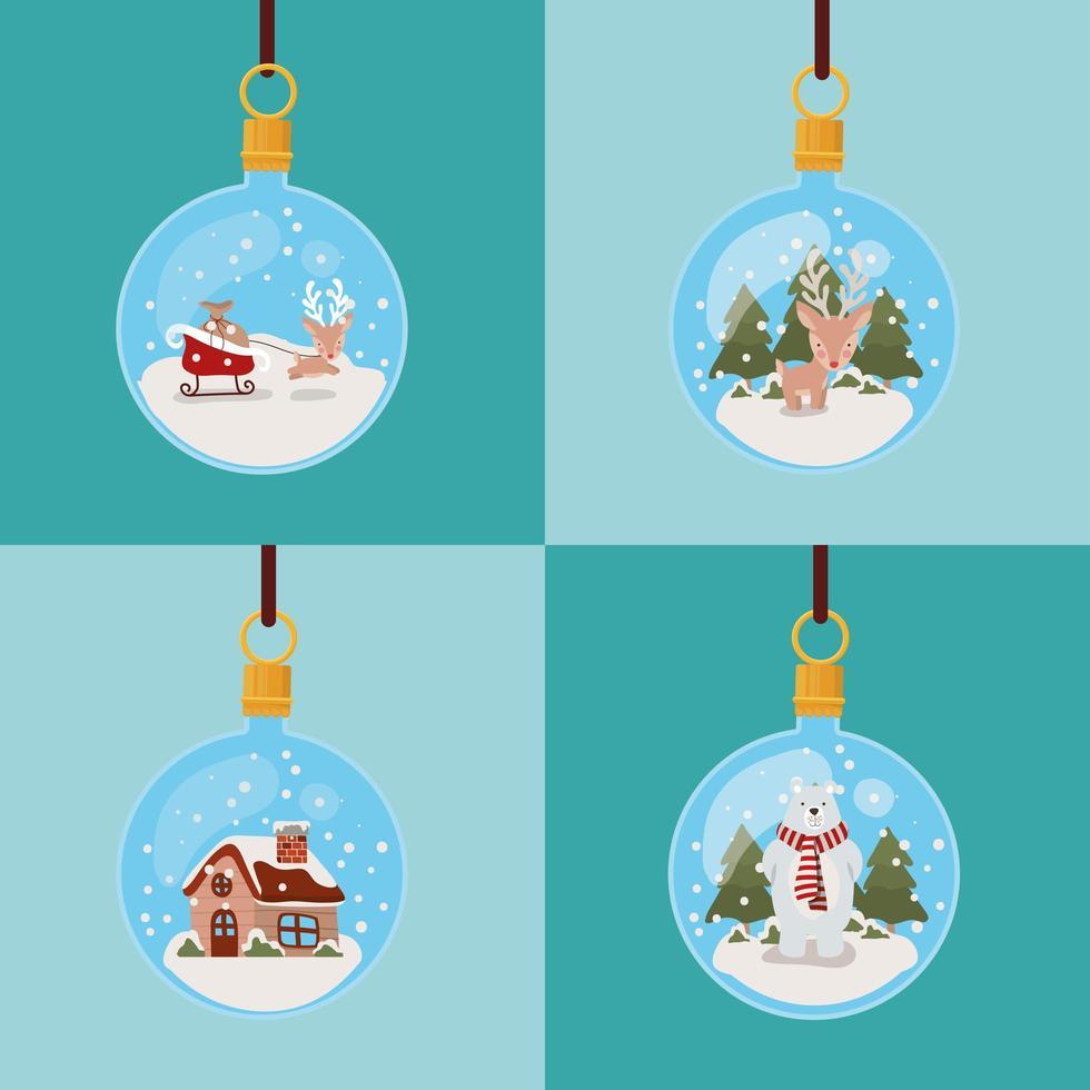 cartão de feliz natal com enfeites pendurados vetor