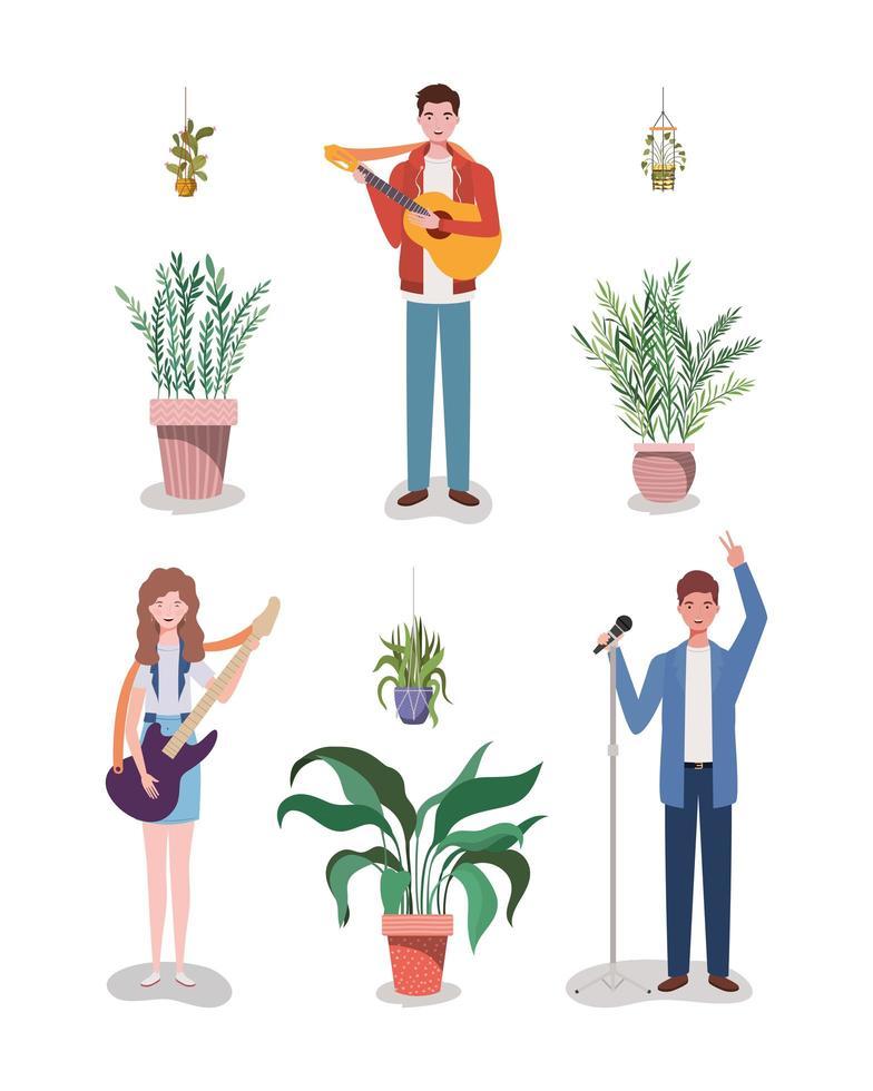banda de música em grupo tocando instrumentos e planta de casa vetor