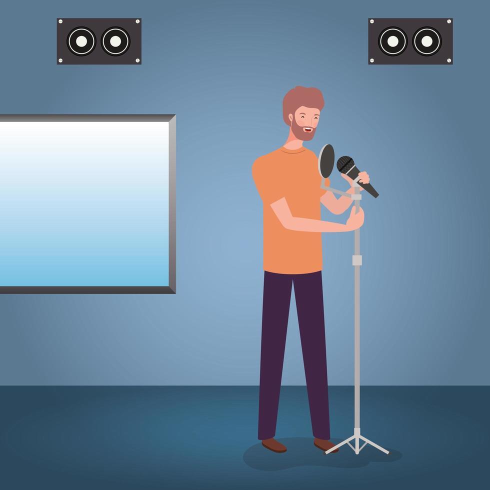 homem cantando com microfone no estúdio de gravação vetor