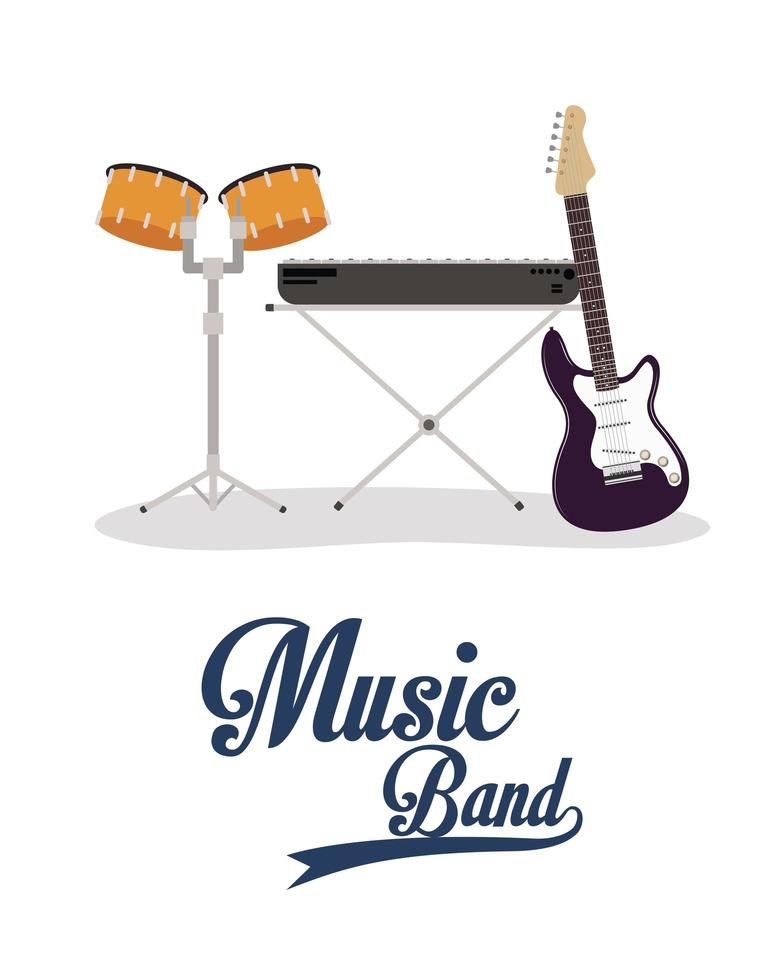 ícones de instrumentos de banda de música vetor