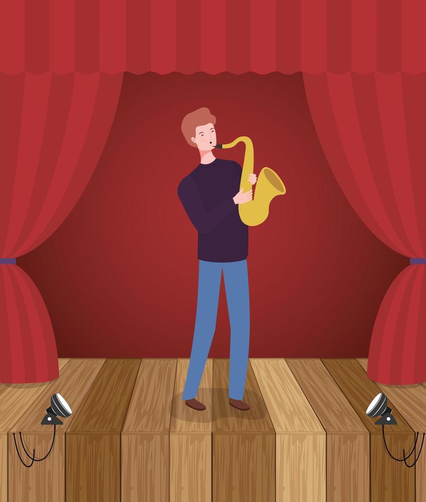 homem tocando personagem avatar de saxofone vetor