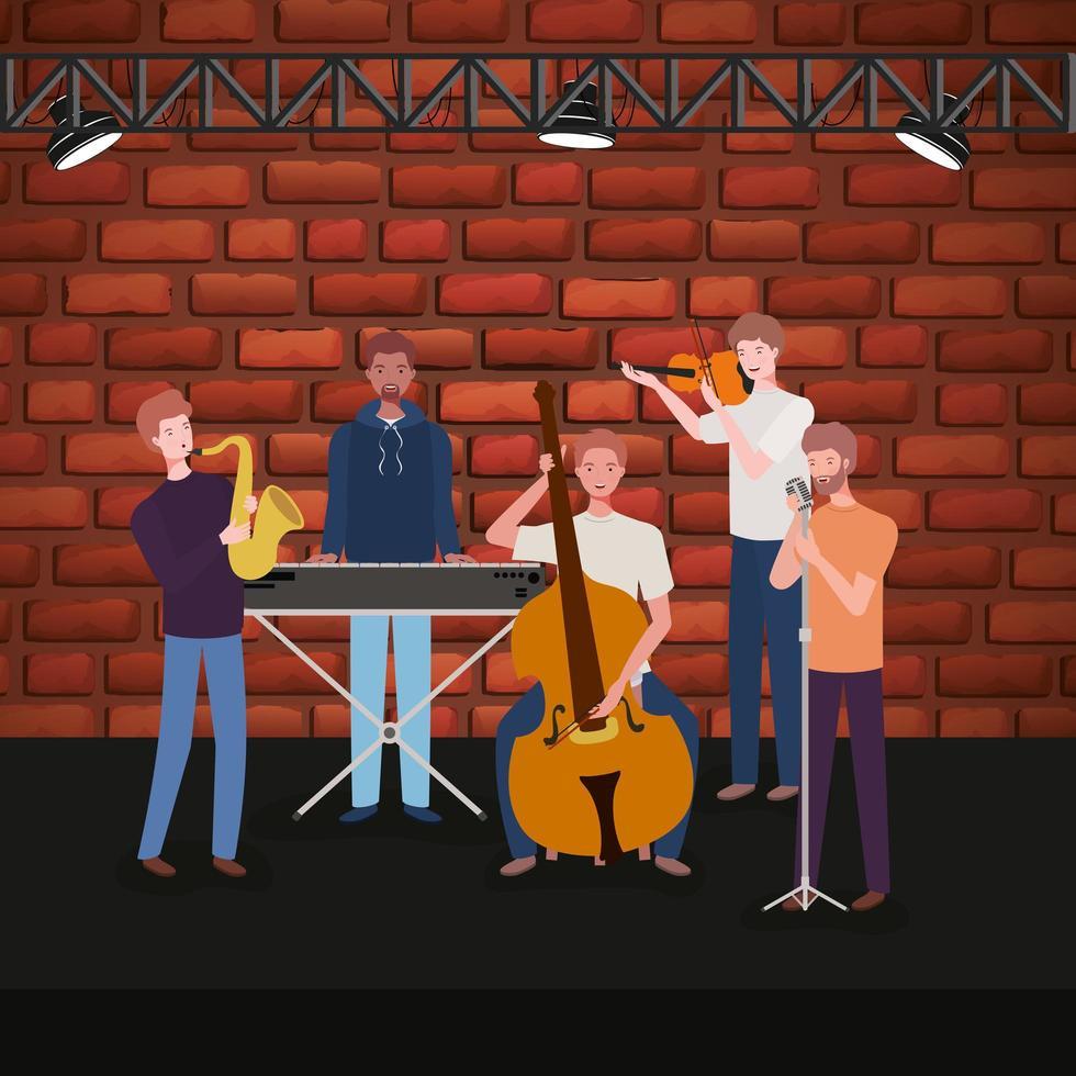 grupo de homens inter-raciais tocando música em uma banda vetor