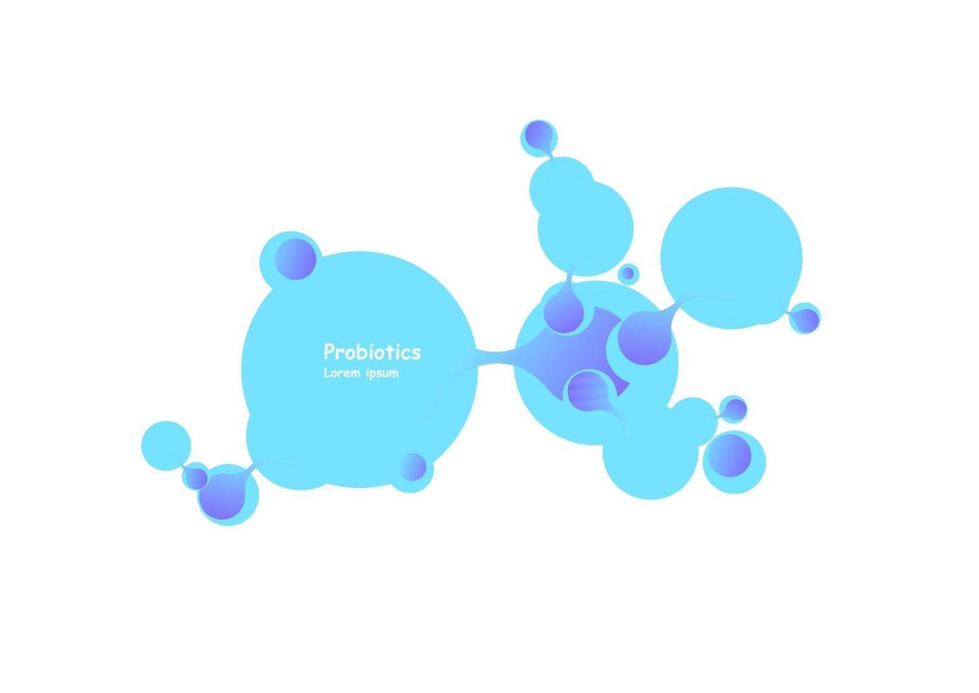 projeto de vetor de bactérias probióticos. projeto de vetor de bactérias probióticos. conceito de design com bactérias probióticas de lactobacilos. modelo de design com ingrediente prebiótico de nutrição saudável