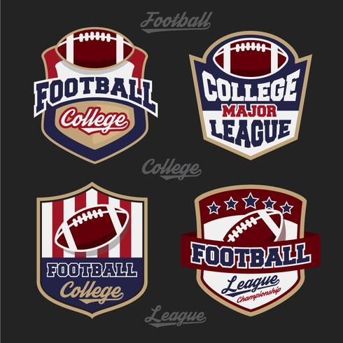 Conjunto de logotipo de distintivo de liga de faculdade de futebol com design de quatro cores vetor