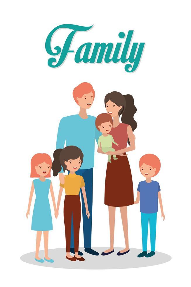 personagens fofinhos e felizes de membros da família vetor