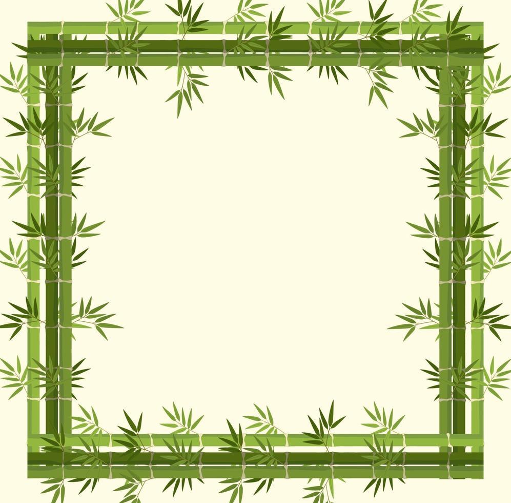 banner vazio com moldura de bambu verde vetor