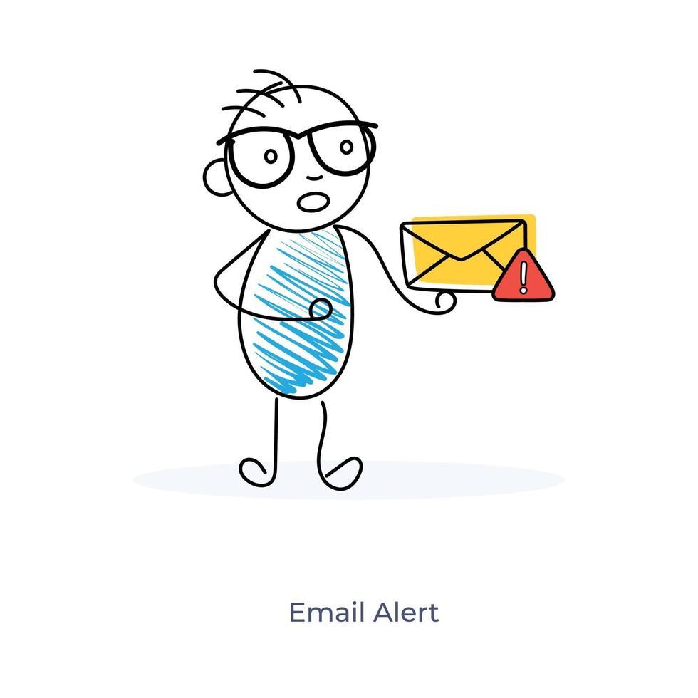 personagem de desenho animado com alerta de e-mail vetor