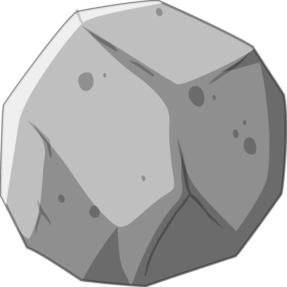 um meteorito de pedra isolado no fundo branco vetor