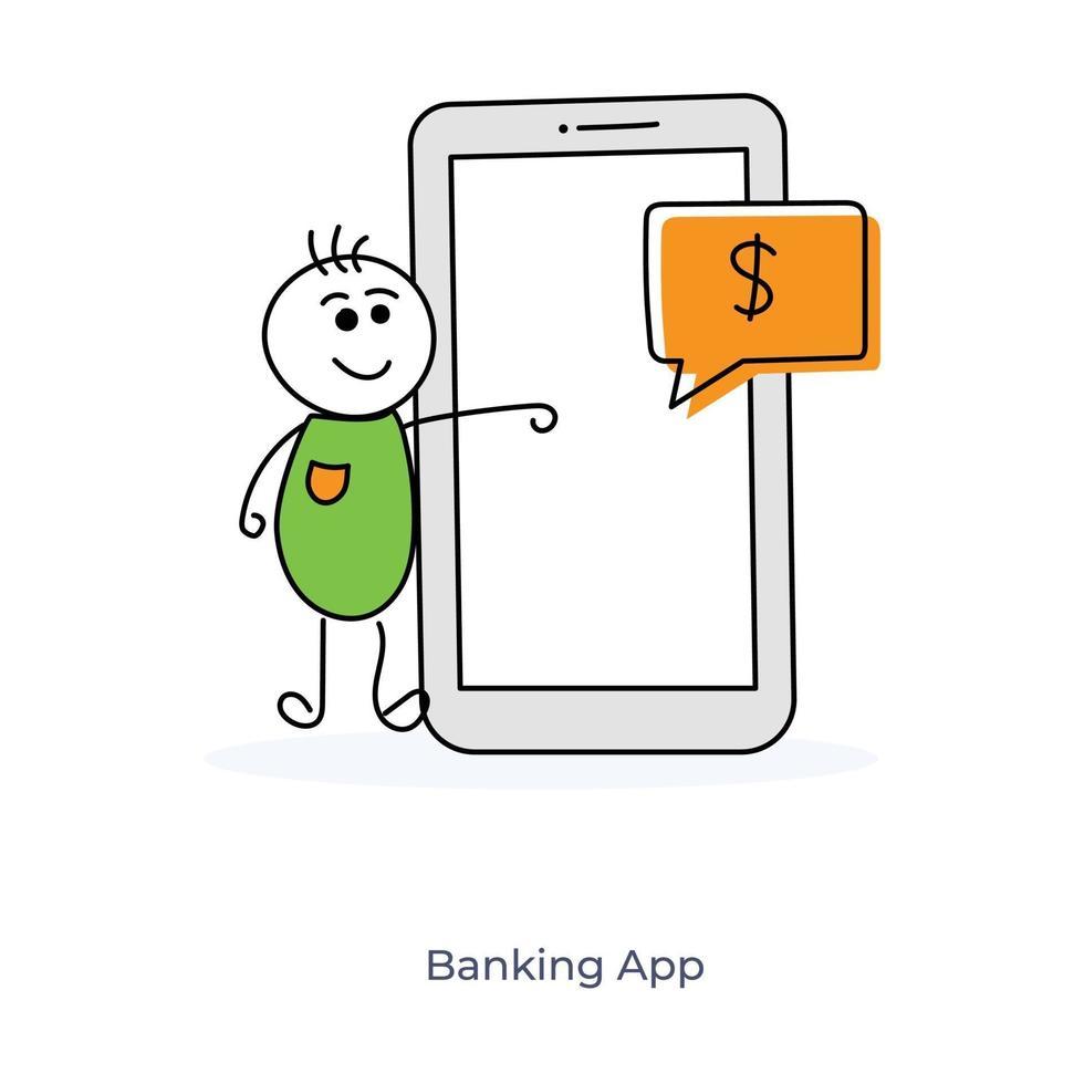 personagem de desenho animado e banco online vetor