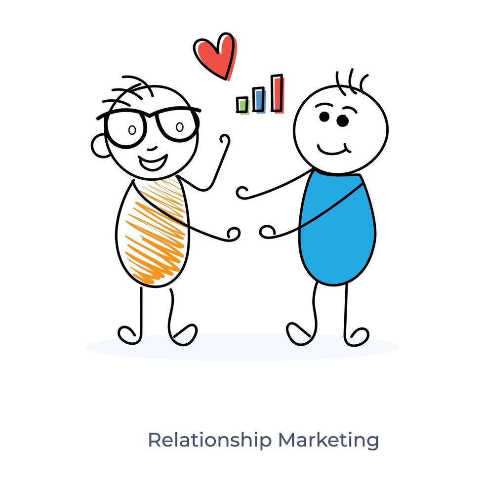 relacionamento de marketing de personagem de desenho animado vetor