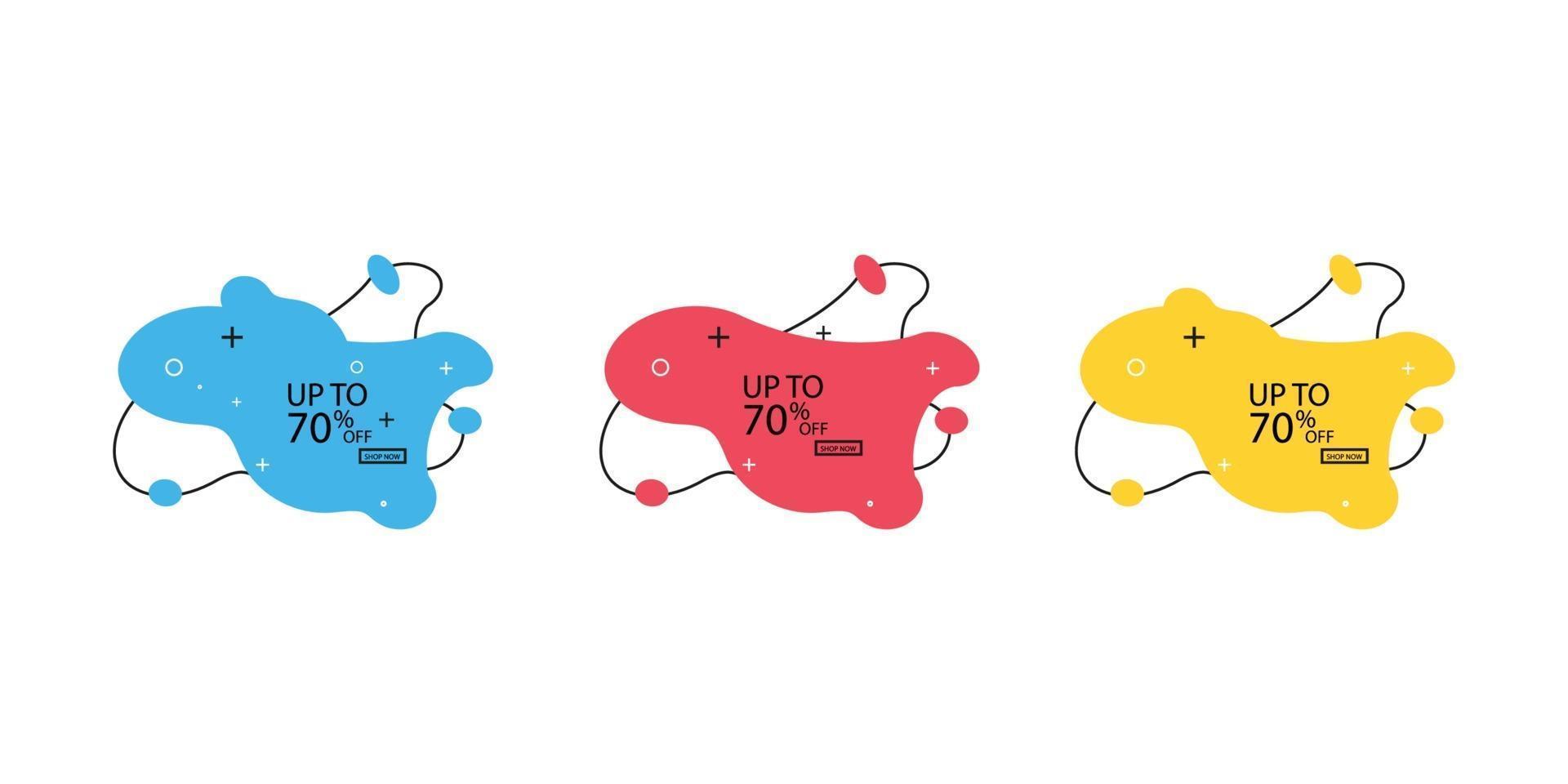 banner na moda de bolhas de líquido. conjunto de banners de venda com formas da moda. banners de desconto de vetor. vetor
