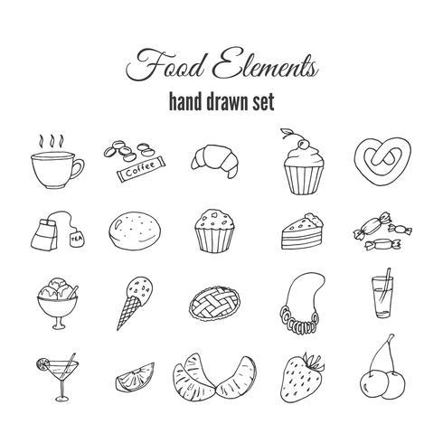 Conjunto de massa doce de mão desenhada. Esboço de elementos de vetor de padaria.