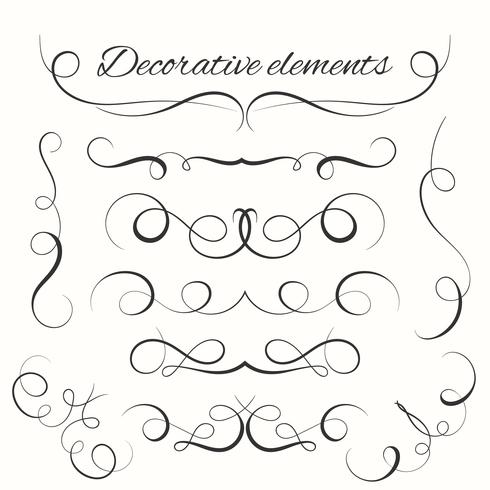 Conjunto de divisores de mão desenhada. Conjunto de bordas decorativas. Elementos decorativos ornamentais vetor